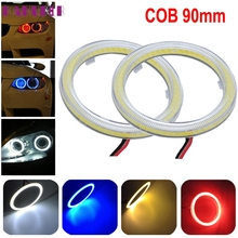 Hot 2pcs White 90MM COB LED Angel Eyes Headlight Halo Ring Warning Lamps with Cover DEC6