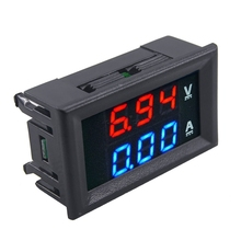 New Arrival DC 100V 10A Voltmeter Ammeter Blue + Red LED Digital Display Voltage Current Meter With Line Free Shipping