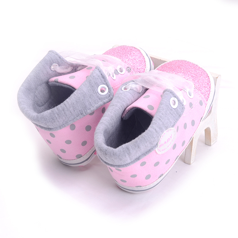 Infant Newborn Baby Girls Boy Glitter Polka Dots Autumn Lace-Up First Walkers Sneakers Shoes Adorable RibbonToddler Canvas Shoes 9