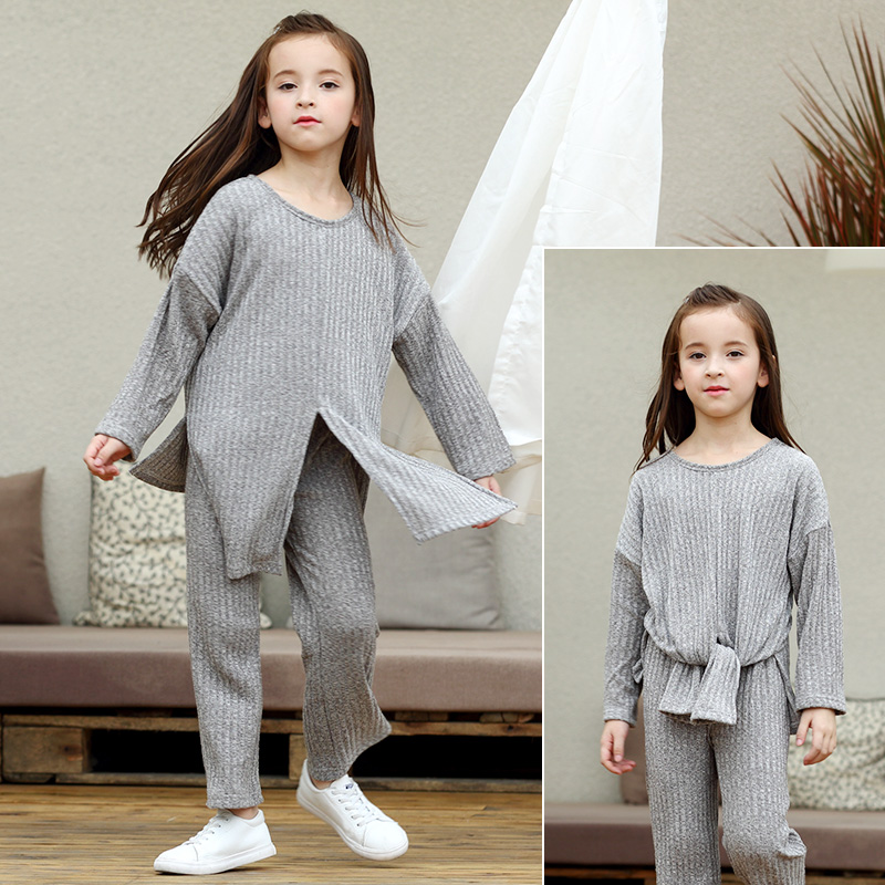 National Style Set 2017 Brand Autumn Girl Childrens Knit Clothing Set Grey Long Sleeve Tops+Pants Sweater Suits for 6-15y Teens<br>