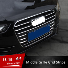 12pcs Car Styling Front Bumper Middle Grill Grids Trim Strips Exterior Modification Accessories Sticker For Audi A4 B8 2013-2015