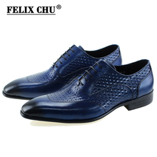 FELIX CHU Luxury Italian Genuine Cow Leather Men Blue Wedding Oxford Shoes Lace-Up Office Suit Men's Dress Shoe #D560-20A(China)