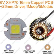 Cree XHP70 Cool White Neutral White Warm White High Power LED Emitter Diode 6V 16mm Copper PCB + 26mm 1 Mode or 5 Modes Driver(China)