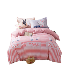 Sweet pink comforter bedding set queen twin size,100% cotton bedclothes,stripes comforter cover/bed sheets/rabbit pillowcase(China)