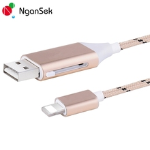 NganSek Share Power Data Sharing USB Cable For iPhone 6 7 Plus Lighting Cable Phone Camera with Reader Function Female Male USB