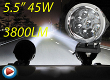 Buy Free ship!5.5inch 45W 10~30V LED working light,2pcs/set,Black color,3800LM,6500K,Bulldozer,Crane,4x4 SUV ATV,Motorcycle light for $112.10 in AliExpress store