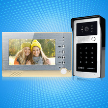 Video intercom door bell system 7'' SD card indoor monitor recording video+RFID card reader access control outdoor camera+4 keys