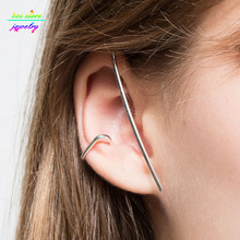 Minimalist Modern Silver Bar No pierced Ear Cuff For Women Punk Ear Wrap