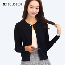Refeeldeer Knitted Cardigan Women 2017 Spring Autumn Long Sleeve Sweater Cardigan Female Single Button Pull Femme Black Pink(China)