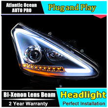 car styling For Nissan Tiida headlights U angel eyes DRL 2011-2015 For Nissan Tiida LED light bar DRL Bi-xenon Double lens HID K(China)