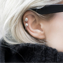 Fashion Elegant Imitation Pearl Ear Wrap Cartilage Cuff U Clip On Earring No Piercing Geometric Earrings