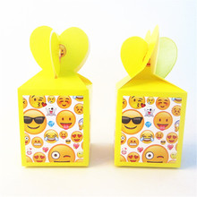 6pcs Cartoon Emoji Favor Box Candy Box Gift Box Cupcake Box Kids Birthday Party Supplies Decoration Event Party Supplies(China)