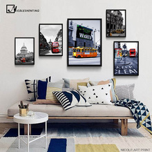 London Bus Cityscape Minimalist Art Canvas Poster Black White Building Landscape Wall Picture Modern Home Room Decoration