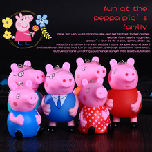 Peppa Pig Key chain Plastic rubber cartoon George page pig key chain Bags hang act the role ofing