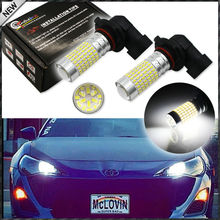 2pcs 6000K Xenon White 144-SMD-3014 High Power 9005 HB3 9145 H10 LED Bulbs For car High Beam/Daytime Running Lights/Fog Lamps