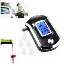 Smart Breath Alcohol Tester Digital LCD Breathalyzer Analyzer AT6000 with 5pcs Mouthpieces