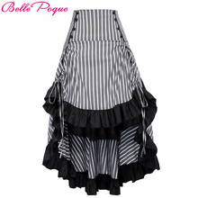 Sexy Women Long Gothic Punk Skirt Striped Medieval Party Ball Gown Costume Clothes 2017 Vintage Ruffle High-Low Steampunk Skirts(China)