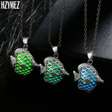 HZYMEZ New Vintage Tropical Fish Noctilucent Pendant Necklaces Glow In The Dark Fluorescent Luminous Jewelry For Women Jewelery(China)