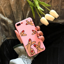SZYHOME Phone Cases for IPhone 6 6s Plus Pink Girl Love Gestures Discounted for IPhone 7 Plus Mobile Phone Cover Case B