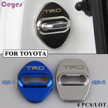 Stainless Steel Car-Styling Door Lock Cover Car Sticker JDM Fit For Toyota TRD Corolla Avensis Rav4 Auris 2014 Yaris Car Styling(China)