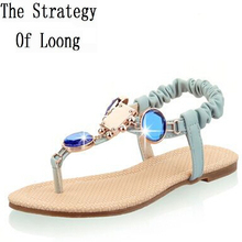 Rhinestones Beading Ankle Wrap Flip Flops Open The Toe Women Crystal Sandals Summer New Fashion Sandals Plus Size 34-43 SXQ0605