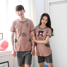 New Casual Sleep rwear Women Pyjamas Sets cotton pajamas cartoon Couples big yard men short sleeve cotton tracksuit suit S2051