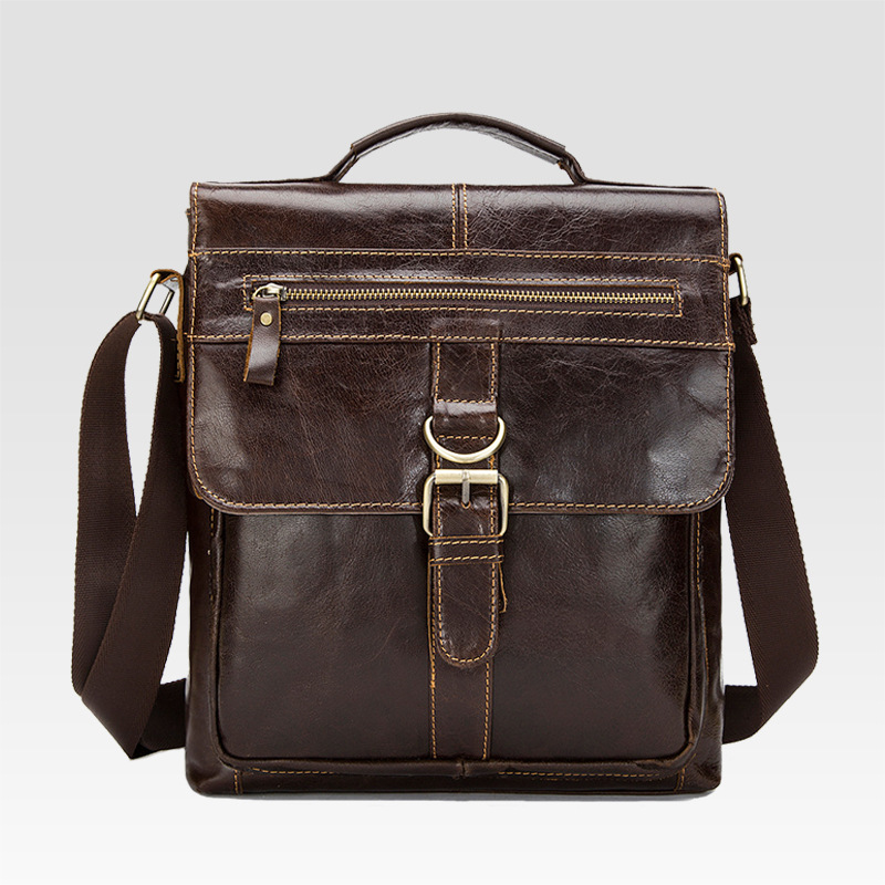 Genuine Leather retro mens shoulder bag head layer of leather clamshell Messenger bag vertical section mens bag<br>
