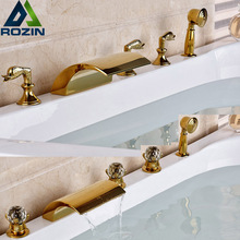 Modern Deck Mounted Golden Waterfall Tub Spout Bath Faucet Widespread 5pcs Bathtub Mixer Faucet(China)