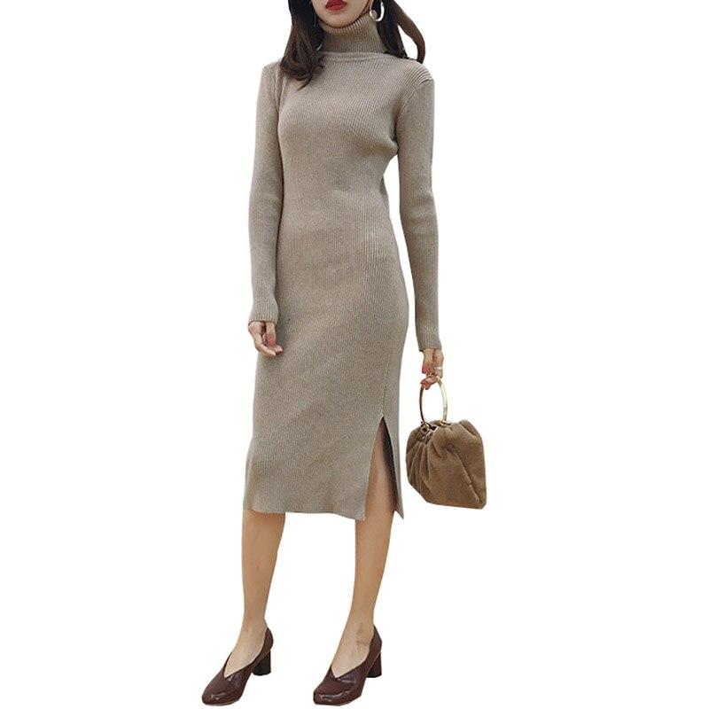 Women Autumn Winter Sweater Knitted Dresses Slim Elastic Turtleneck Long Sleeve Sexy Lady Bodycon Robe Dresses Vestidos LU493Îäåæäà è àêñåññóàðû<br><br>