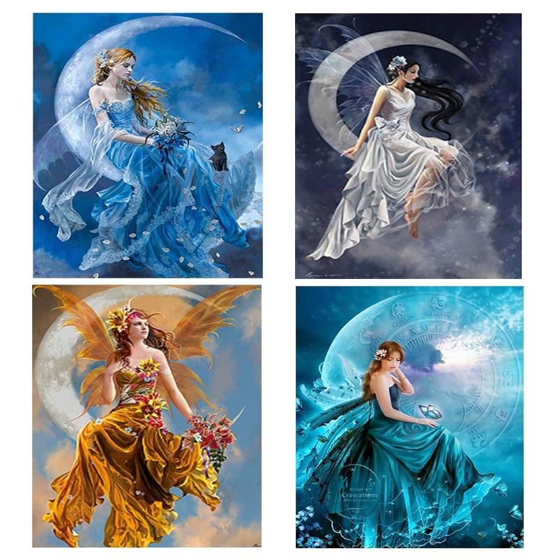 Алмаз вышивка портрет луна красоты 5d diy алмаз живопись девушка ангел круглый бриллиант мозаика кристалл вышивки крестом наборы(China)