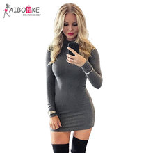 Spring Dress Women 2017 Casual Sheath Women Tshirt Dress Long Sleeves Grey Solid O-Neck Above Knee Mini Dress Sexy Club Wear