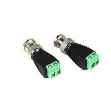 HKES 2pcs/lot Mini Coax BNC Connector UTP Video Balun Connector BNC Plug DC Adapter For CCTV Camera