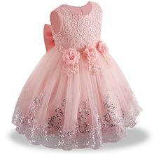 High Quality Toddler Girls tutu Dress Flower Lace Princess Children Bridemaid Dress For Wedding Girls Party Prom Dresses(China)