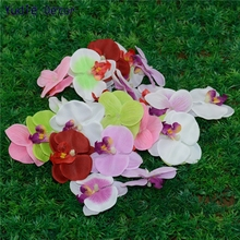 100pcs Wholesale Silk Butterfly Orchid Artificial Flowers Head For Wedding Home Decoration Orchs Flores Cymbidium Flowers Plants(China)