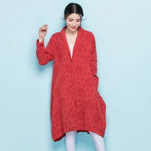 LZJN Plus Size Trench Coat for Women 2018 Spring Autumn Jacquard Cotton Duster Coat Long Sleeve Windbreaker Folk Tops 06437(China)