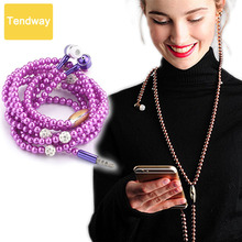 Jewelry Pearl Necklace Earphones With Mic Beads 3.5mm headset For iphone 6 6S 5 SE For Xiaomi Connect To Audio Devices(China)