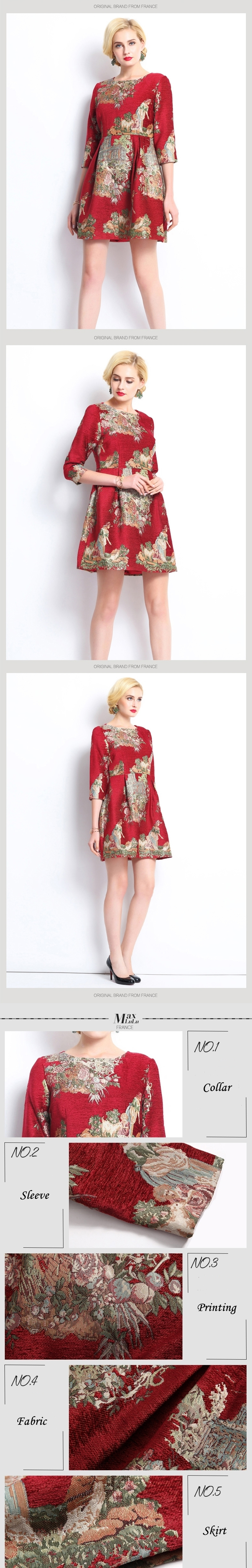 Max LuLu Autumn 2017 Luxury Brand Red Floral Women's Vintage Dresses Slash Neck Party Ladies Knitted Dress Brand Clothing XXXL 4