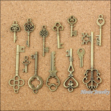 Wholesale 117 pcs Vintage Charms Mixed Keys Pendant Antique bronze Fit Bracelets Necklace DIY Metal Jewelry Making 10012