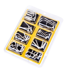 8PCS/set Montessori Metal Materials Wire Puzzle IQ Mind Brain Teaser Puzzles Game For Kids Adult Educational Toy