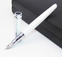 Baoer 3035 High Quality Student Pearl White Metal Silvery Medium Nib Fountain Pens New The best gift for the teacher(China)