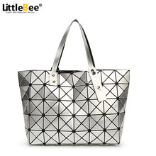 Women Handbags Bag Laser Geometry Package Sequins Issey Mirror Plain Split Joint Mujer Shoulder Bag Top Handle Tote