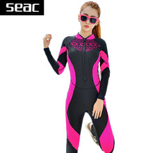 SEAC Lace Wetsuit Women Zipper Swimsuit Full Body Jumpsuits Diving suit Rash Guard Wetsuits for Swimming Surfing Sports Clothing