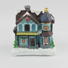 "4"" LED paper mache (polyresin) Christmas houses village with led fibre-optical light Merry Christmas decorations for home"