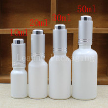 Wholesale 10ml 20ml 30ml 50ml Pearlescent White Glass Bottle Pressing Cover Dropper ,Essential Oil/Perfume Packaging Container