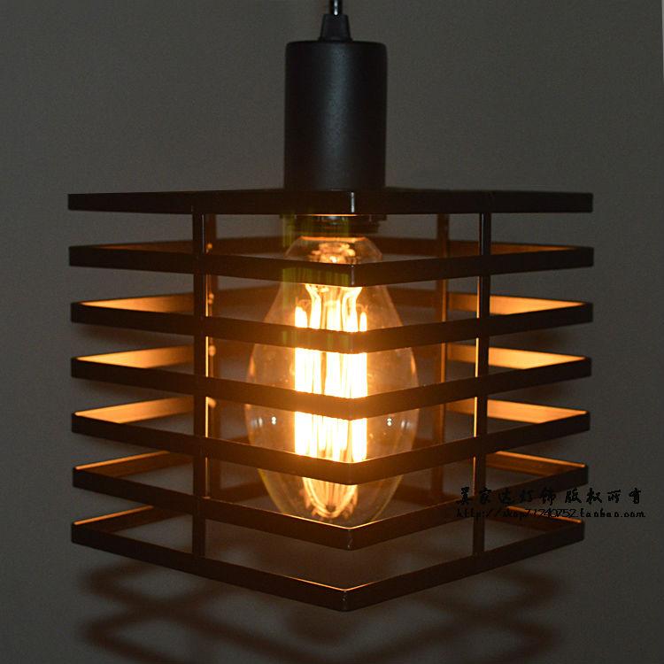 Nordic Loff Edison Retro Industrial Ceiling Light Led Lamp Metal Cage Black Cube Droplight Cafe Bar Hall Club Store Restaurant<br><br>Aliexpress