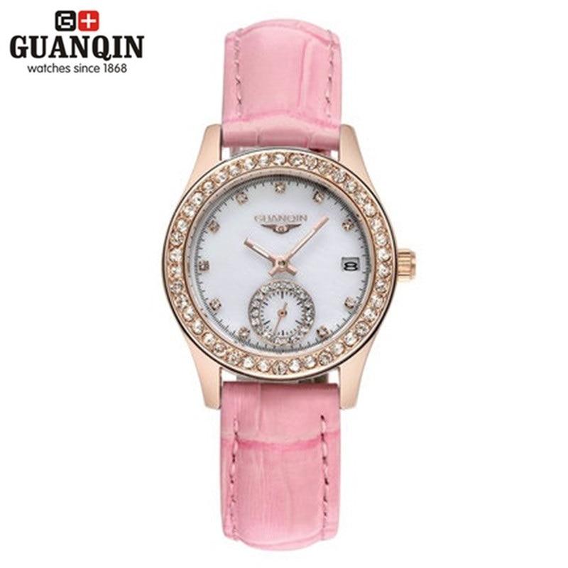 Diamond Luminous GUANQIN Watch Woman Sapphire Quartz Watch Luxury Brand Watch Women 30m Waterproof Stainless Steel Sale Watches<br>