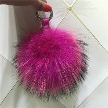 big real fur fox pom pom bag charm keychains genuine furry handbag charm-real leather key ring large 13cm puffs fox fur ball