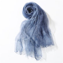 Silk Scarf Female Lightweight Fashion Brand Gift Ladies scarves Summer Double Layer Blue Luxury Scarf Women