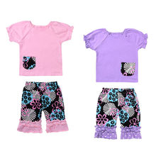 New Arrival Toddler Kids Baby Girl Clothes Set Best Friend Summer T-shirt Tops Pants Headband 3PCS New Fashion Outfits