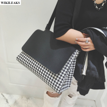 women messenger tote bags Korea cover chain plaid ladies bag bulk bolso shopper retro shoulder handbags black leather satchel